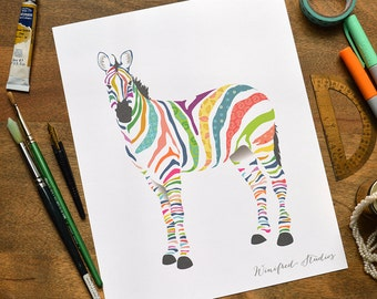 Madeline's Rainbow Zebra Illustration | Winifred Studios Nursery Wall Art - 8x10 Art Print