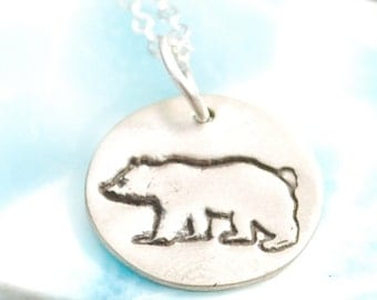 Tiny Round Bear necklace eco-friendly round nickel free white bronze pendant. Handcrafted by Chocolate and Steel