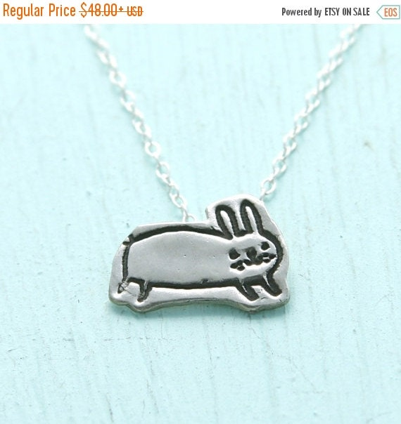 SALE BUNNY necklace,  illustrated by Gemma Correll, eco-friendly silver. Handcrafted by Chocolate and Steel