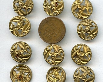 Victorian Buttons Set of (11) Metal Brass Pierced Antique Circa 1880  Matching 5/8 inch size 1673