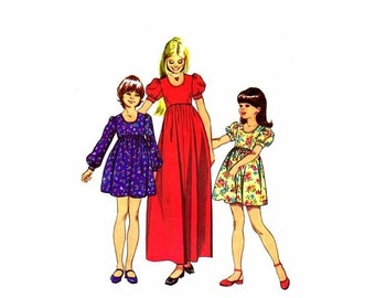 SALE 1970s Girls High Waist Dress Simplicity 5386 Vintage Sewing Pattern Size 7 Breast 26
