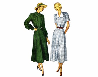 1940s Shirtwaist Dress Simplicity 2520 Vintage Sewing Pattern Full Figure Size 40 Bust 40 UNCUT
