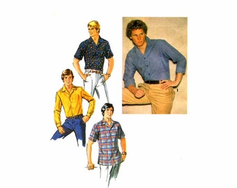 1970S Mens Casual Shirt Simplicity 8944 Vintage Sewing Pattern Chest 36 OR Chest 38