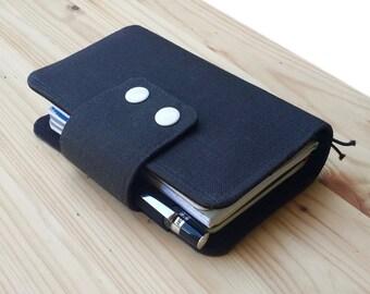 Dark Grey Fabric Fauxdori Travelers Notebook   card slots  internal pockets pen loop snap closer