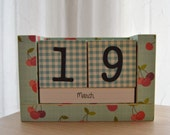 Perpetual Wooden Block Calendar - Cherries and Blue Gingham Tablecloth