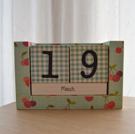 Perpetual Wooden Block Calendar Cherries And Blue Gingham