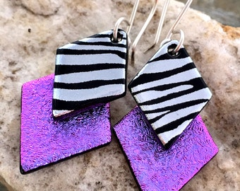 Purple & Zebra Dichroic Glass Earrings..
