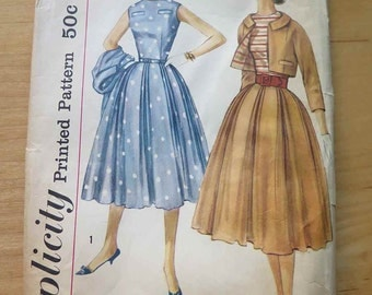 Vintage 50s Jr Misses One Piece Full Skirt Dress and Jacket Sewing Pattern B32