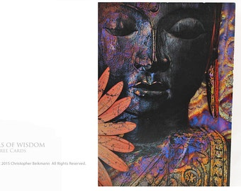 Jewels of Wisdom- Two Buddha Floral Tree-Free Greeting Cards by Christopher Beikmann