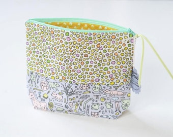 Mini Cloud Puffs + Doodletown Boxy Patchwork Zipper Pouch | Original Fabric Design | Make-up/Cosmetic Bag