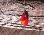 Handpainted Enamel Floral Fused Glass Pendant With Sterling Silver Bail and Necklace