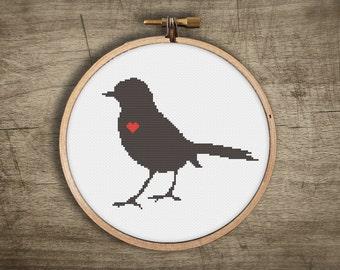 bird modern cross stitch pattern ++ retro sparrow love heart ++ pdf INsTAnT DOwNLoAD ++ diy hipster ++ handmade design