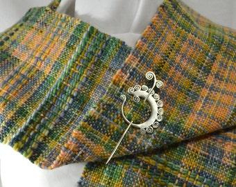 Hand woven wool scarf in strange plaid - slate, peach, green, gold Wool - Colorful, warm, soft, stylish