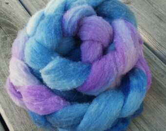 NEW Hand Dyed Fiber Polypay Roving Blueberry Life Multi Color American Wool American Sheep