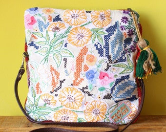 Embroidered Bag / Foldover Purse