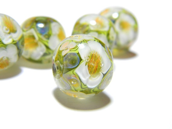 Lampwork Glass Bead - Olive green and white floral 15mm bead - Autumn Angels Collection