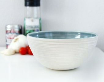 Modern Porcelain Bowl Groove Bowl in Fog Blue Grey
