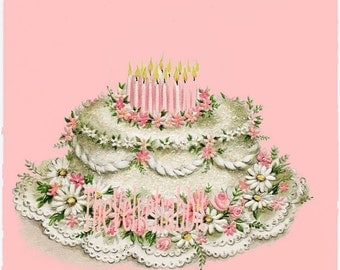 Birthday cake a*Digital download instant*Sewing.ornaments,tags,cards