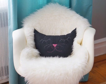 Cat Nap Decorative Pillow ( Black Cat )