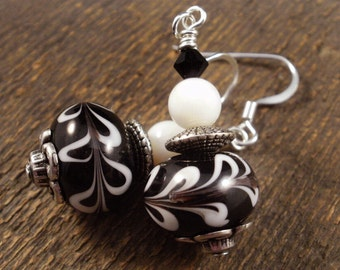 Black and white lamp work glass, natural shell beads, swarovski crystal and silver handmade earrings