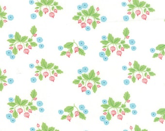 1.25 yard piece/remnant - Gooseberry - Gooseberry Patch in Cloud (White): sku 5011-11 cotton quilting fabric by Lella Boutique for Moda