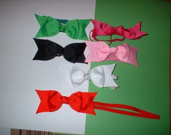 4  inch  Hair Bows on Headbands In  colors( 9)  total of 6
