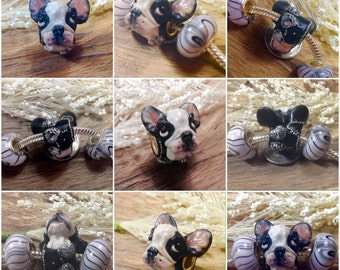 Boston Terrier Specialty Bead Charm Detailed European Dog Bead - with two matching beads - small breed black white hearts silver studs OOAK