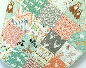 Baby Girl Quilt Woodland Hello Bear Deer Nursery Bedding  Crib Bedding Scrappy OOAK  Mint Apricot Peach Forest Animals