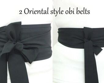 TWO Black Obi Belt / Sash ... one wide and one narrow ... Oriental Japanese Geisha style Kimono belt wrap