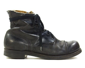 60s Light Tread Steel Toe Combat Boots / Vintage 1960s Military Jump Boots / Black Leather Lace Up Ankle / Men's Size 10.5 / Women's Size 12