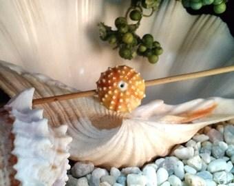 1 tropical sunshine yellow orange handmade sea urchin bead side to side porcelain ceramic jewelry or fiber art supply big bold chunky beads
