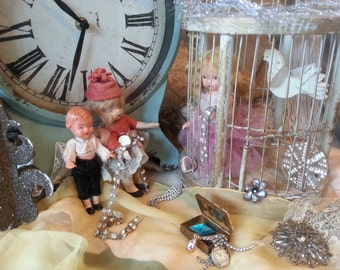 """Cute print, """"Rescue the Little Doll"""", These little dolls have retrieved the beautiful jewels from the curious old lady, print with antiques"""