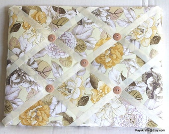Beige Flowers Memory Board French Memo Board, Waverly Shades Of Brown Photo Board, Ribbon Pin Board, Ribbon Photo Board, Bedroom Decor