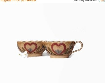 California Pottery Creamer and Sugar Set, Vintage 1940's Cleminson's Distlefink,  vestiesteam, vintageandmain