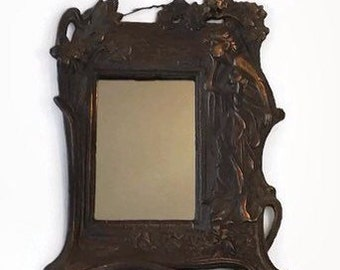 Vintage Art Nouveau Cast Iron Framed Mirror Victorian Cottage Chic Home Decor