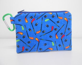 Hockey Coin Purse in Blue with Carabiner Clip On