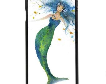 "Phone Case ""Drifting"" - Mermaid Ocean Child Watercolor Art Painting Fishlady by Olga Cuttell"