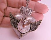 Industrial Steampunk Silver Heart with Wings and Watch Face and Spinner on 18 Inch Chain