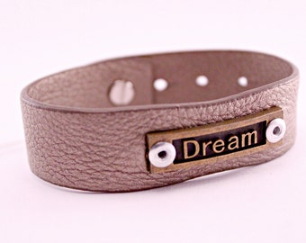 Adjustable Metallic Leather and Metal Stamped Bracelet Cuff DREAM