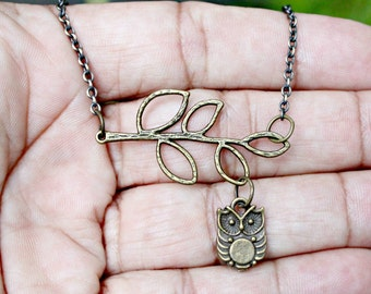 Mini Modern Bird Owl and a Branch Brass Lariat Necklace Pendant with 16 Inch Curb Chain