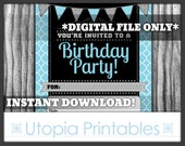 Fill In The Blank Birthday Party Invitation Quatrefoil Blue Black Gray Grey White Printable Digital Modern Contemporary Theme Invite