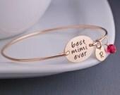 Mimi Bracelet, Personalized Mimi Jewelry Gift, Gold Mimi Bangle Bracelet, Christmas Gift for Mimi