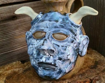 lichen glaze devil FACE JUG by Joel Patton