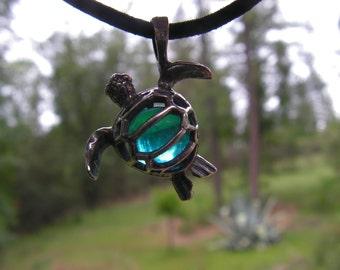 Sea Turtle Pendant Sterling Silver With Aquamarine