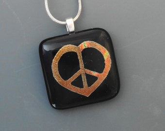 Dichroic Fused Glass Heart Pendant, Valentine Jewelry, Copper Heart Pendant, Tie-Dyed Dichroic Fused Glass Peace Pendant