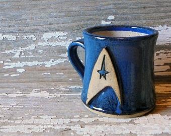 Trek Mug - Handmade Pottery Mug - Star Trek Inspired - Science Officer - Emblem - Communicator