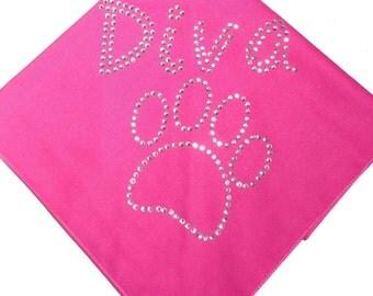 Rhinestone diva with paw tie on doggie bandana