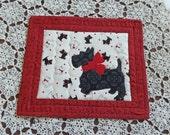 Mug Rug. Candle mat. Small quilt. Snack mat. Scotty dog.