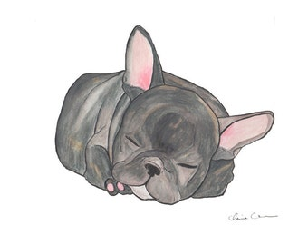 Sleeping French Bulldog Print, Bulldog Art, Gifts, Dog Art Print, Cute Gifts, Cute Art, Dog Lover Gift, French Bulldog Decor, Wall Art