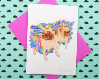 Unicorn Pugs Blank Greeting Card, Just Because Card, Friendship Card, Funny Animal Greeting Cards, Pug Print, Pug Gift, Congratulations Card
